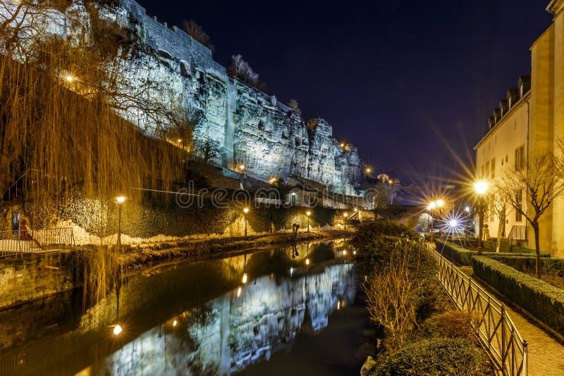 Kazamaty Du Bock i kamienia most w Luksemburg obrazy stock