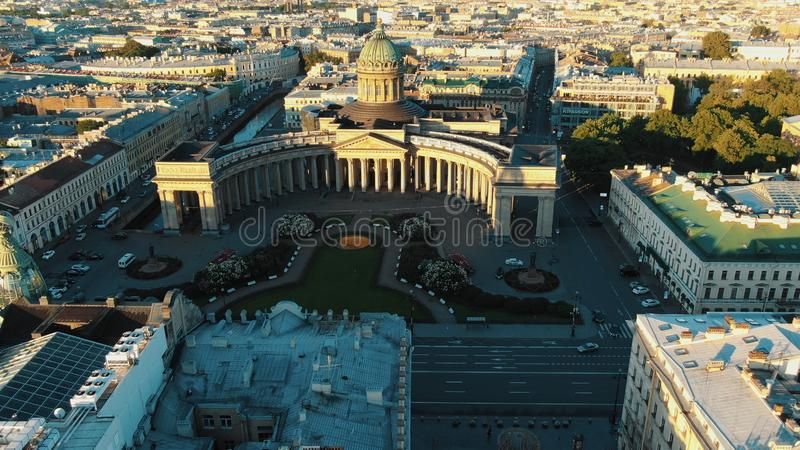 Kazan Cathedral dome rooftop with golden cross aerial view royalty free stock photo