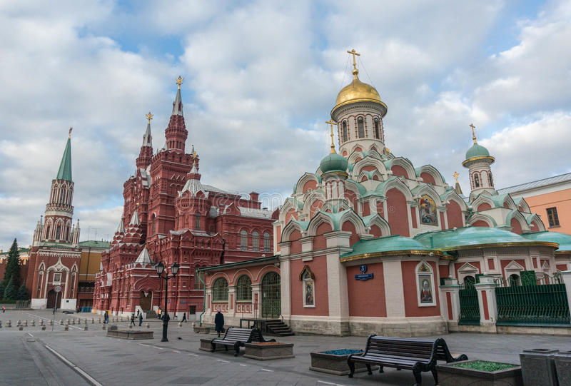 Kazan Cathedral, State Historical Museum and Moscow Kremlin. Moscow Street scene. stock images