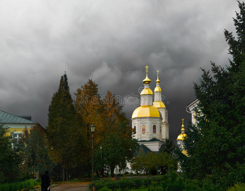 Kazan church in Diveevo under a stormy sky royalty free stock images