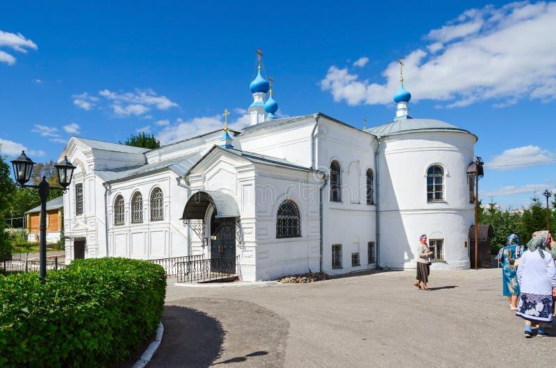 Kazan Church in the Holy Dormition Knyaginin convent, Vladimir,. VLADIMIR, RUSSIA - AUGUST 21, 2015: Unidentified pilgrims are near Kazan Church in the Holy royalty free stock photos