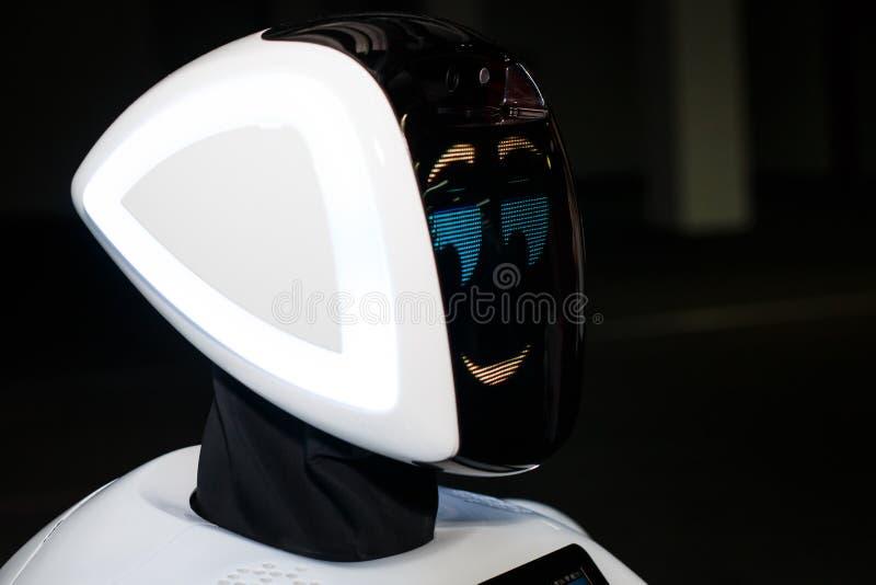 KAZAN, de republiek van Tatarstan, Rusland - Maart 12: Hoofd van robot in de opslag bij de tentoonstellings` Stad van Robots ` 20 stock afbeelding