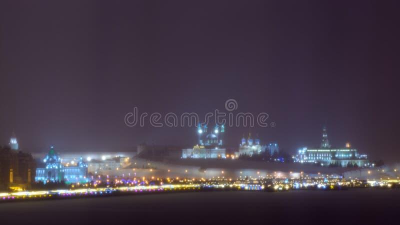 Kazan, federacja rosyjska 24 2017 Grudzień: Widok Kazan Kremlin przy nocą w zimie fotografia royalty free