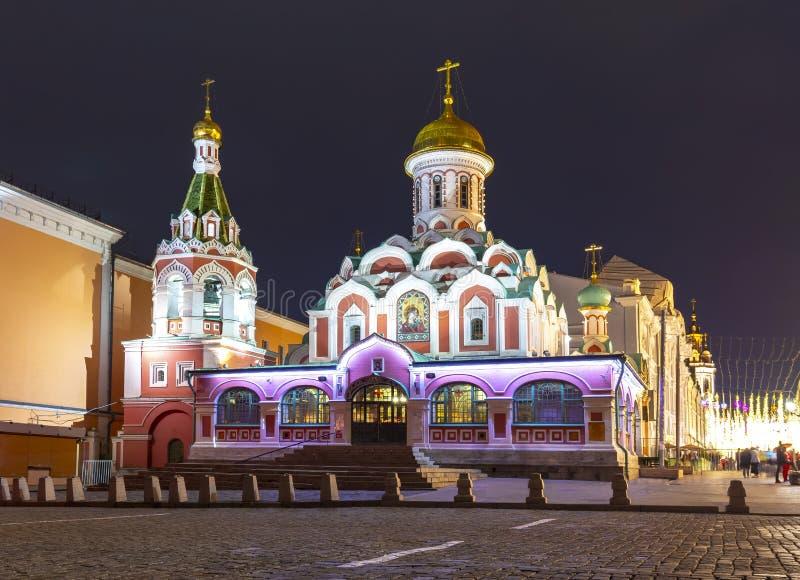 Kazan katedra na placu czerwonym przy nocą, Moskwa, Rosja zdjęcia royalty free