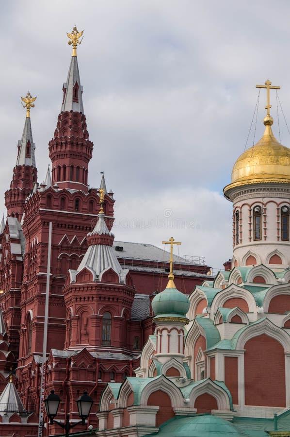 Kazan katedra, Twierdzi Dziejowego muzeum Moskwa ulicy scena obrazy stock