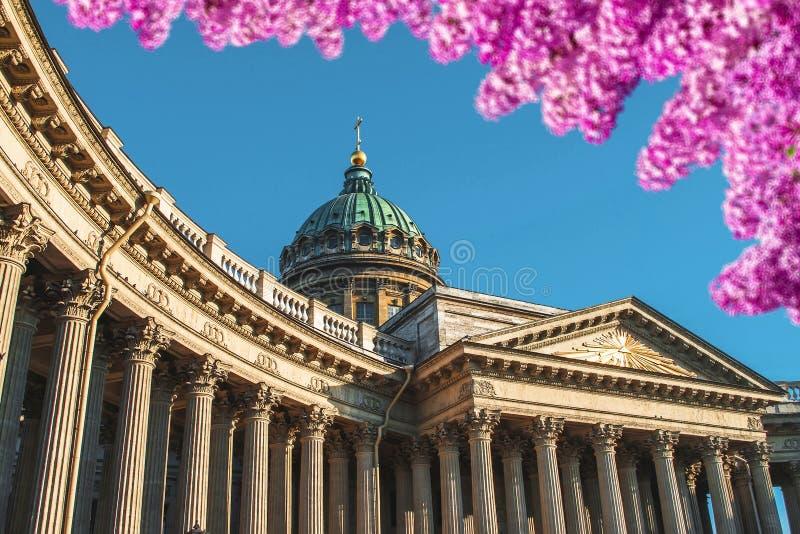 Kazan Katedralne kolumny przeciw niebieskiemu niebu w przedpolu jaskrawy kwitnie lilych kwiaty, zdjęcia royalty free