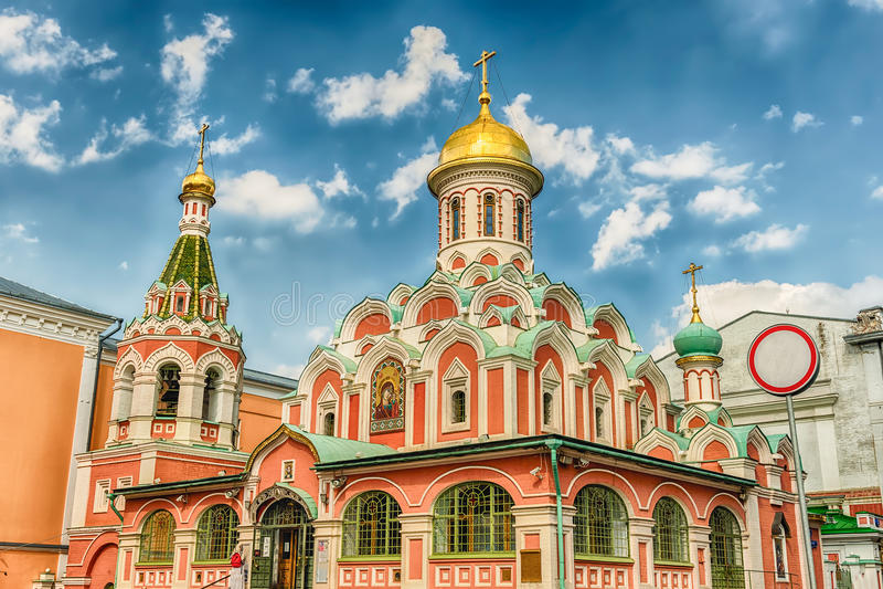 Kazan Kathedraal in Rood Vierkant, Moskou, Rusland royalty-vrije stock afbeelding