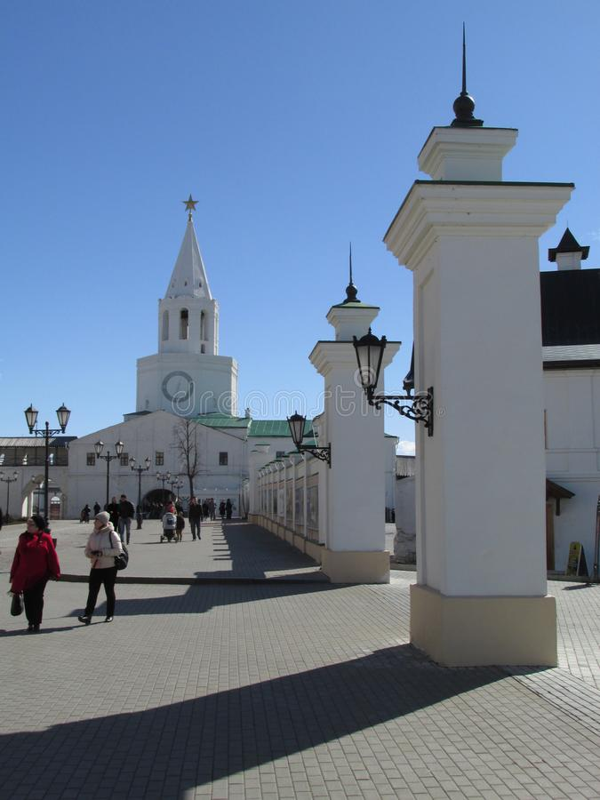Tatarstan. The main tower of the Kazan Kremlin, the view from the inside. stock image