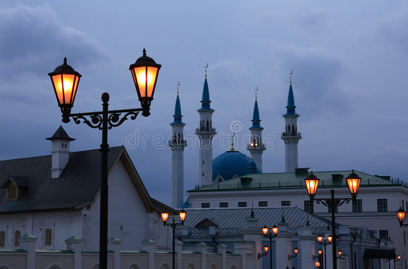 Kazan Kremla w nocy fotografia royalty free