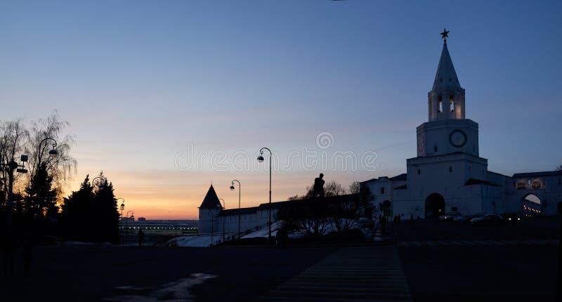 Kazan Kremlin au coucher du soleil images stock