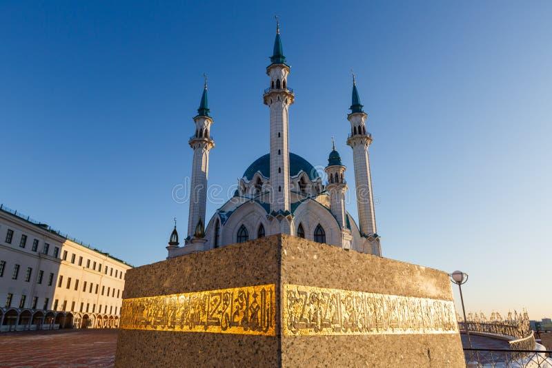 Kazan Kremlin Kul-Sharif meczet w promieniach zmierzch fotografia royalty free