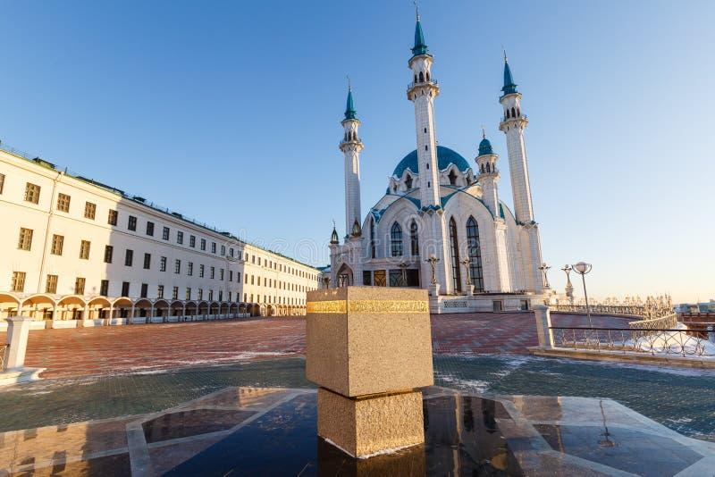 Kazan Kremlin Kul-Sharif meczet w promieniach zmierzch fotografia stock