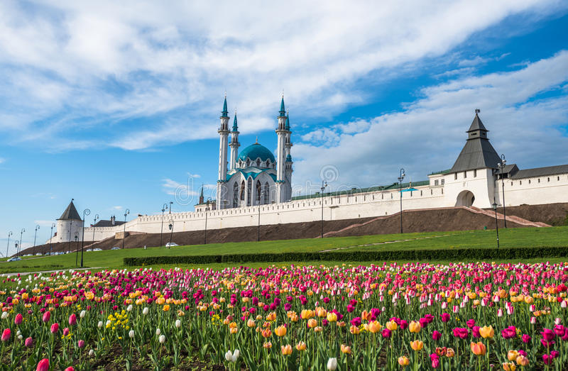 Kazan Kremlin and Kul-Sharif mosque, Tatarstan, Russia royalty free stock photo