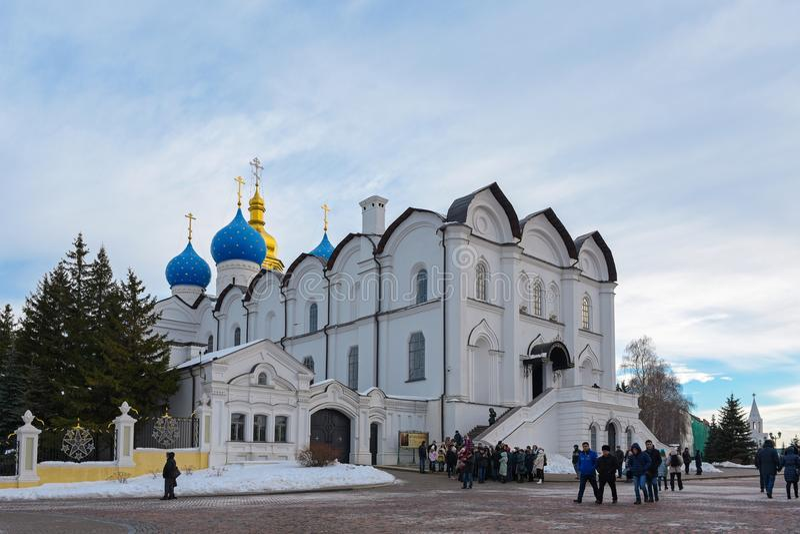 Kazan, Russia, Republic of Tatarstan - December 31, 2017: Annunciation Cathedral of Kazan Kremlin, Tatarstan, Russia. Kazan Kremlin is the oldest part of Kazan stock photos
