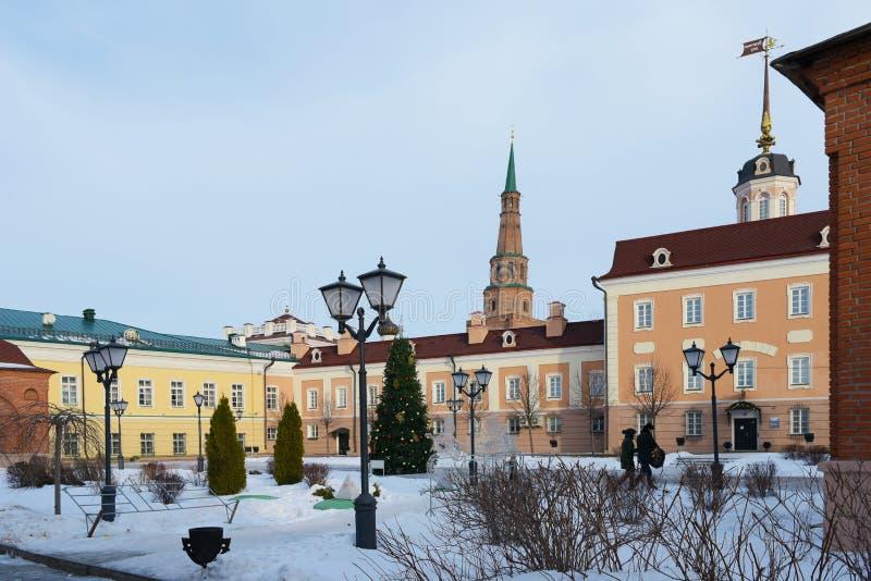 Kazan, Russia, Republic of Tatarstan - December 31, 2017: The internal territory of the Kazan Kremlin in winter. Kazan Kremlin is the oldest part of Kazan, a stock image