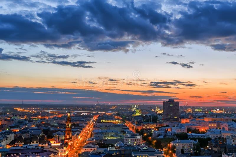 Kazan na noite foto de stock royalty free