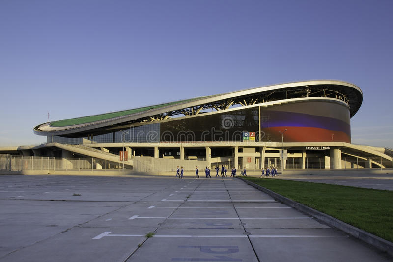 KAZAN, RÚSSIA - 27 DE AGOSTO DE 2016: Ostenta a arena complexa de Kazan, Kaz foto de stock royalty free