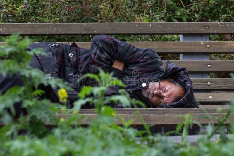 KAZAN, RÚSSIA - 9 DE SETEMBRO DE 2017: o homem alcoólico desabrigado do mendigo está dormindo no banco no parque foto de stock royalty free