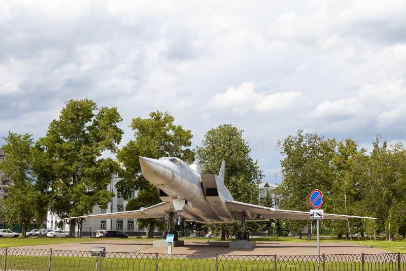 KAZAN, RÚSSIA, O 5 DE JUNHO DE 2018: O plano-monumento TU-22M3 imagens de stock