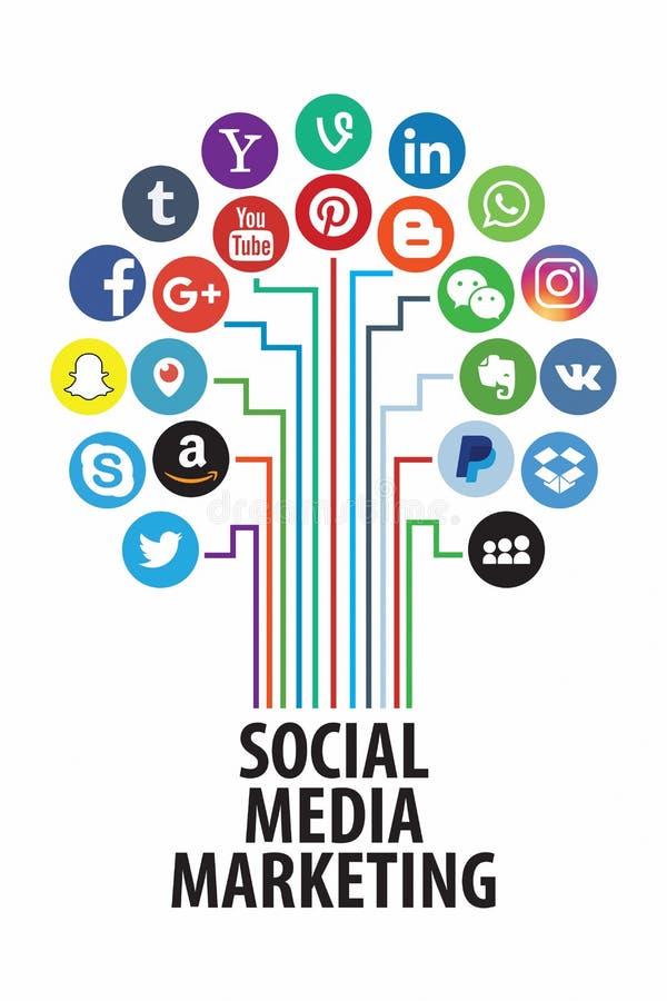KAZAN; R?SSIA - 26 de outubro; 2017: Cole??o de logotipos sociais populares dos meios impressa no papel ilustração do vetor