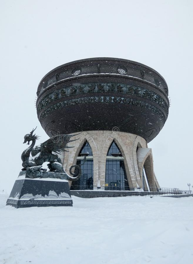Kazan, Republic of Tatarstan, Russia - January 7, 2019: Family center and wedding palace `Kazan`. Winter shot, lot of snow on the ground and in the air stock photos