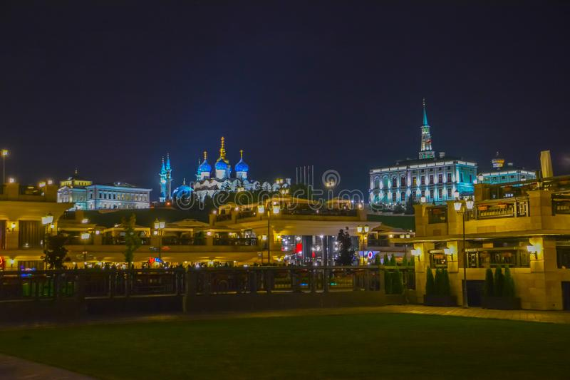 Kazan, Republic of Tatarstan, Russia. View of the Kazan Kremlin with Presidential Palace, Annunciation Cathedral, Soyembika Tower royalty free stock image