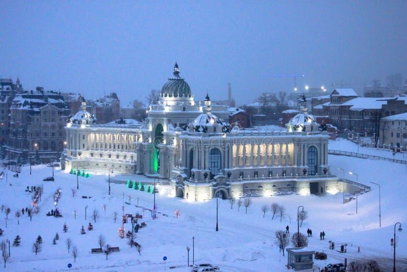Kazan, republika Tatarstan Rosja, Stycze?, - 6, 2019: Noc strza?u jedzenie i ministerstwo rolnictwa obrazy stock