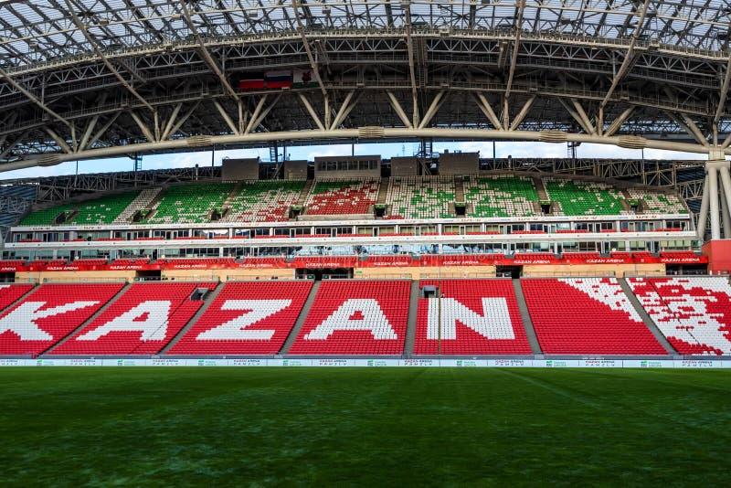 KAZAN ROSJA, CZERWIEC, - 3, 2016: Inside stadium Kazan arena w Rosja obraz stock