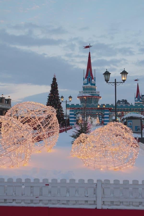 Kazan Rosja, Jan, - 19, 2019: Nowego Roku projekt miasto obraz stock