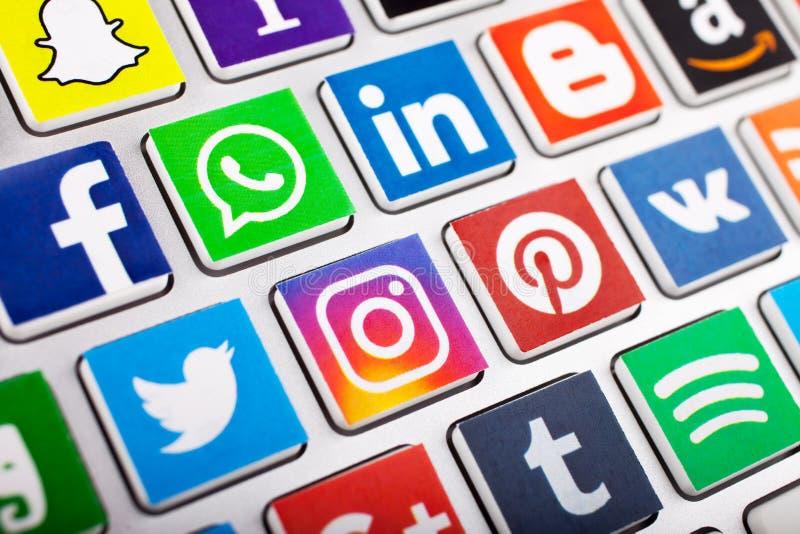 KAZAN ROSJA, LISTOPAD, - 20, 2017: Ogólnospołeczna medialna logotyp kolekcja ogólnospołeczni medialni logo fotografia stock
