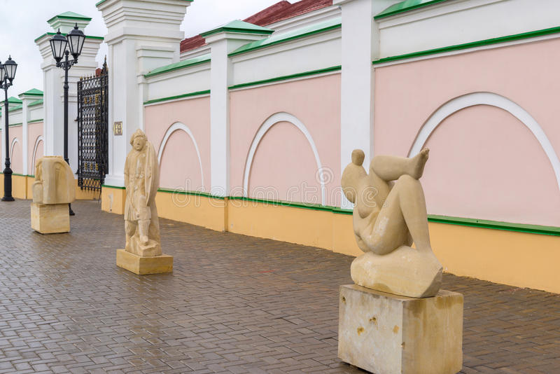 Kazan Rosja, Marzec, - 26 2017 Kamienna melodia - międzynarodowy sympozjon na rzeźbie w Kremlin zdjęcia royalty free
