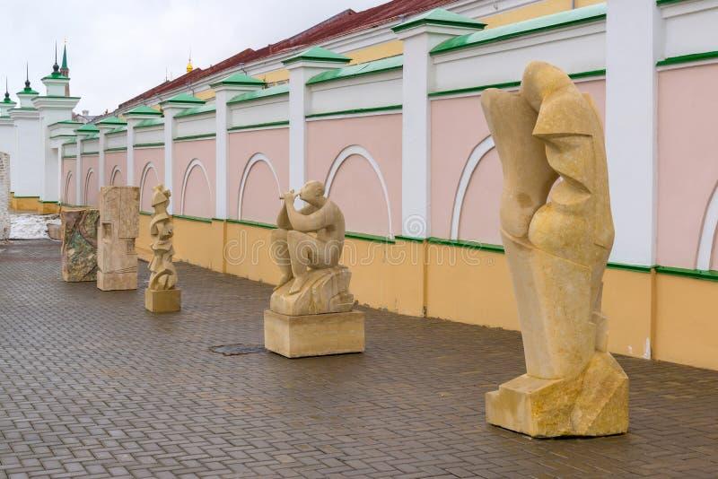 Kazan Rosja, Marzec, - 26 2017 Kamienna melodia - międzynarodowy sympozjon na rzeźbie w Kremlin zdjęcia stock