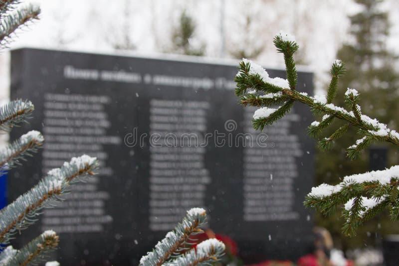 Kazan, Rusland, 17 november 2016, monument voor verwanten van de slachtoffers verpletterde in de vliegtuigneerstorting in interna royalty-vrije stock foto