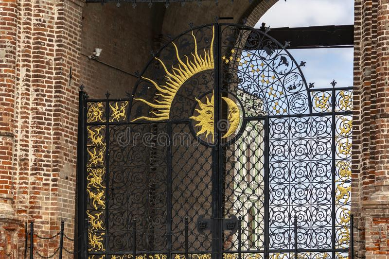 Kazan, Russia - August 9, 2018: Sun and moon decorations on the gate of Soyembika Tower, or Khan`s Mosque in Kazan Kremlin royalty free stock photography