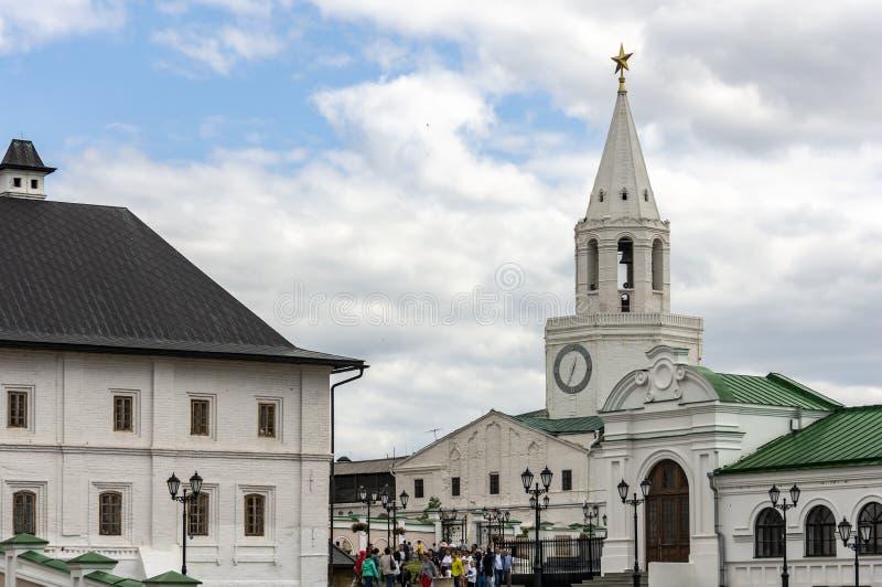 Kazan, Russia - August 9, 2018: View of the Spasskaya Savior`s Tower from the Kazan Kremlin. The white stone Spasskaya Tower royalty free stock images
