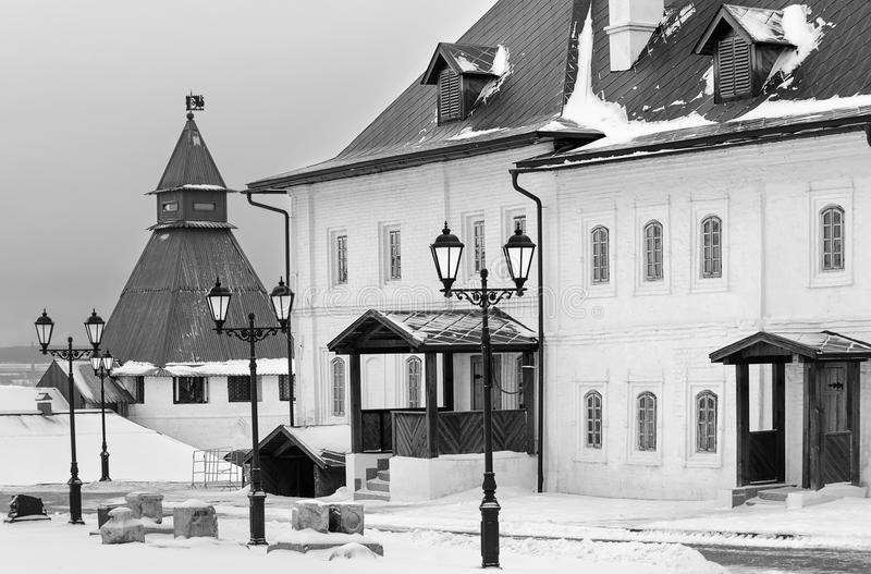 kazan Russia Budynki w Kremlowskim podwórzu Czarno biały wizerunek fotografia stock