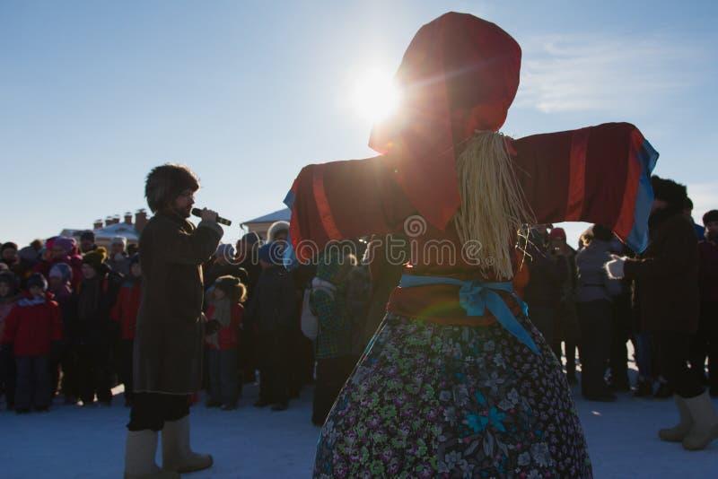 Kazan, Russia - 28 february 2017 - Sviyazhsk Island : Russian ethnic carnival Maslenitsa - A crowd of people gathered. Around an effigy of winter - the man royalty free stock image
