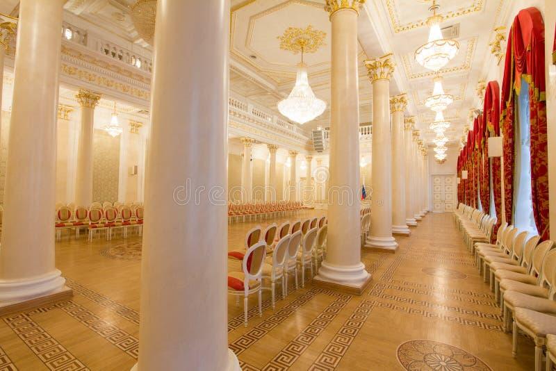 KAZAN, RUSSIA - 16 JANUARY 2017, City Hall - luxury and beautiful touristic place - view of golden ballroom stock image