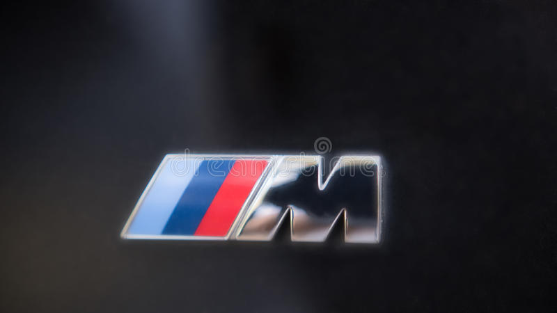 Kazan, Russia - july 2017 - logo sign for BMW M on black hood of the car royalty free stock photos