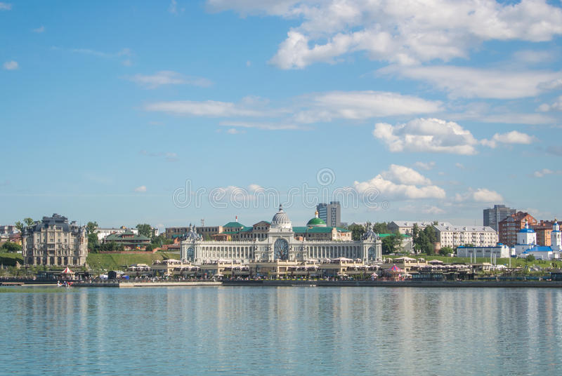 KAZAN, RUSSIA - JUNE 25 2016: A panoramic view to Kazan embankment and Palace of Farmers stock images
