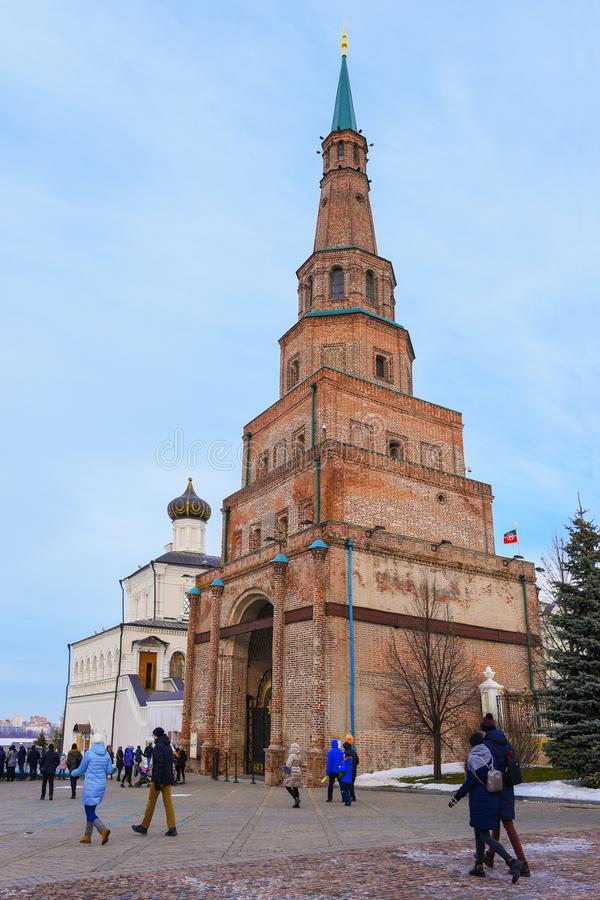 Kazan, Russia, Republic of Tatarstan - December 31, 2017: Kazan Kremlin. The Watch tower and the church. Kazan Kremlin is the oldest part of Kazan, a complex of royalty free stock photos