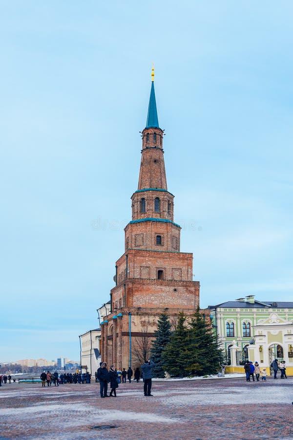 Kazan, Russia, Republic of Tatarstan - December 31, 2017: Kazan Kremlin. The Watch tower and the church. Kazan Kremlin is the oldest part of Kazan, a complex of stock photo