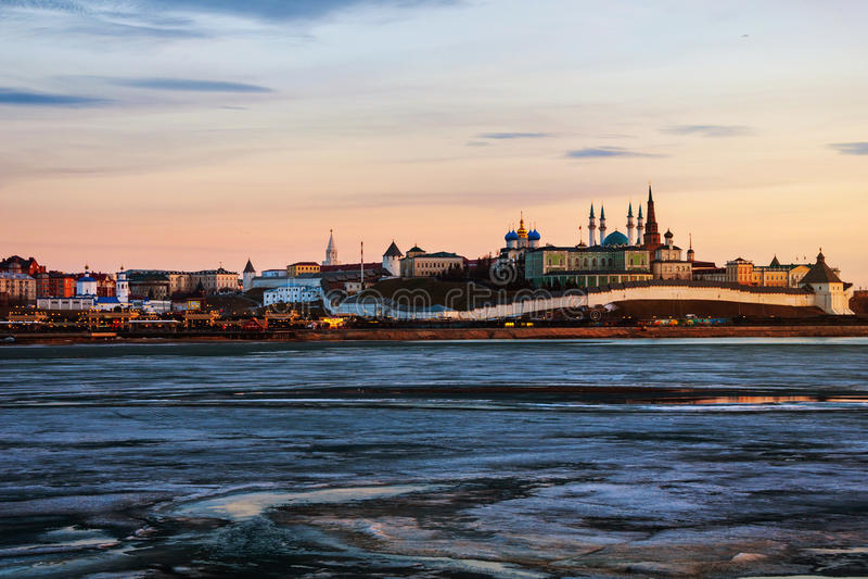 kazan Russia Widok z lotu ptaka Kremlin w zimie fotografia stock