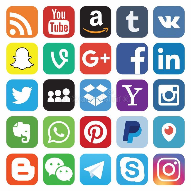 KAZAN, RUSSIE - 26 octobre 2017 : Collection de logos sociaux populaires de m?dias imprim?e sur le papier illustration stock