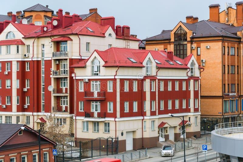 Kazan Ryssland - Mars 27 2017 Bostads- komplex Kremlpärla i den Karl Marx gatan royaltyfri bild