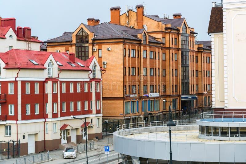 Kazan Ryssland - Mars 27 2017 Bostads- komplex Kremlpärla i den Karl Marx gatan royaltyfri fotografi