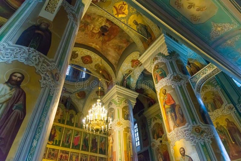 Kazan Ryssland - Mars 26 2017 Inre i domkyrka av förklaringen i Kreml arkivbild