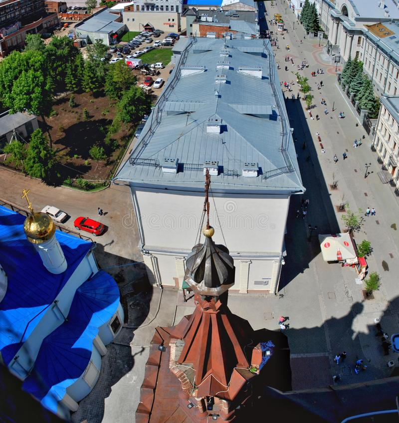 Summer view from the observation deck of the bell tower on Bauman Street and the dome of the Epiphany Cathedral. stock photography