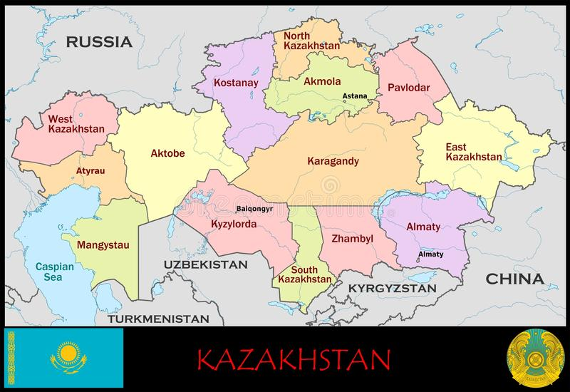 Kazhakstan Administrative Divisions Stock Illustration