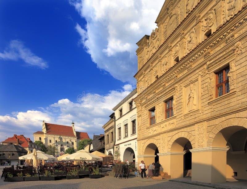 Kazimierz Dolny, Poland - historic quarter - old town market square with parish Church of St. John Baptist and St. Bartholomew. Kazimierz Dolny, Lubelskie royalty free stock photos